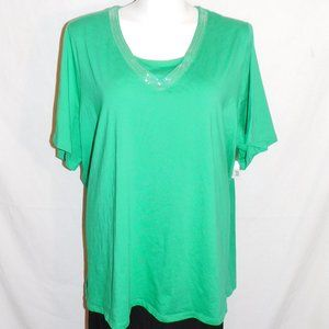 3X Catherines Green Sequins Stretch Knit Top NWT